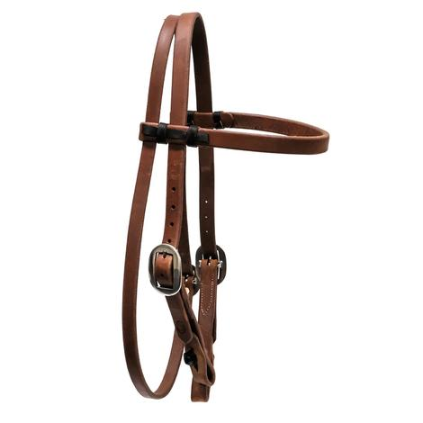 "STT Premium 3/4"" Oiled Harness Leather Brow Band Double Buckle Headstall with Quickchange Ends"