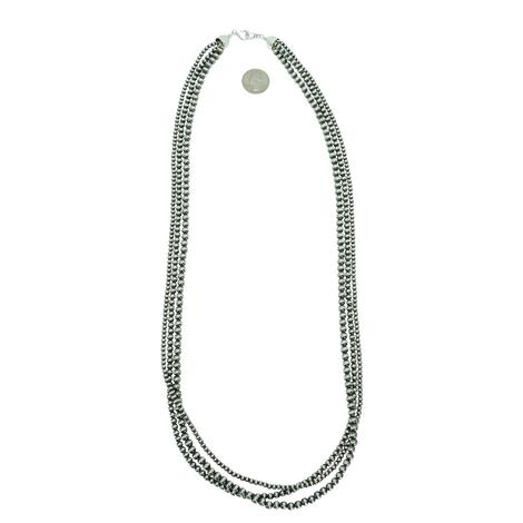 Navajo Pearl Three Strand Necklace - 4mm, 5mm, 6mm x 36inch
