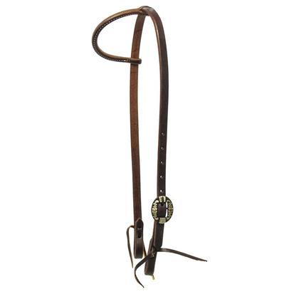 "STT 5/8"" Oiled Slide Ear Headstall with Single Floral Buckle"