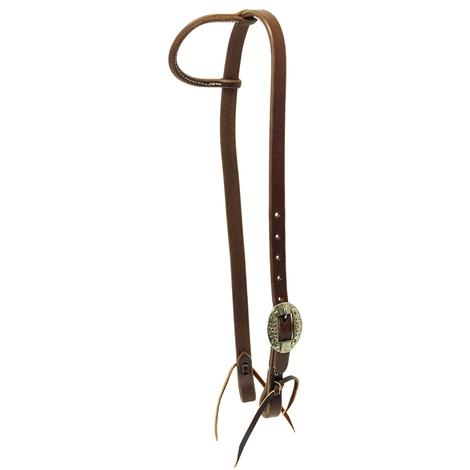 STT Slide Ear Headstall with Oval Floral Silver Buckle