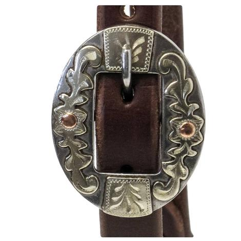 """STT Slide Ear Headstall with Oval Floral Silver Buckle 3/4"""""""