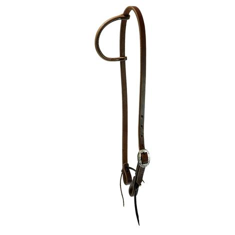 5/8` Slide Ear Headstall with Silver Engraved Buckle
