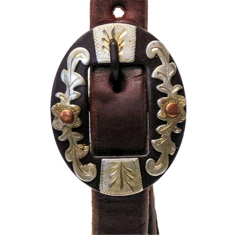STT 3/4inch Leather Slide Ear Headstall with Brown Floral Buckle