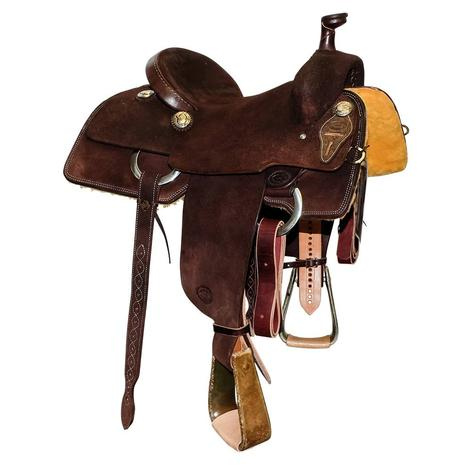 STT Full Dark Chocolate Roughout Team Roping Saddle
