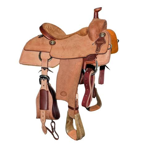 STT Roughout with Suede Seat Heavy Oil Team Roping Saddle