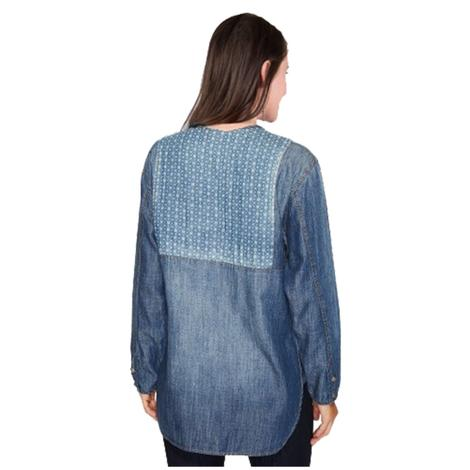 Double D Ranch Womens Blue Canyon Top