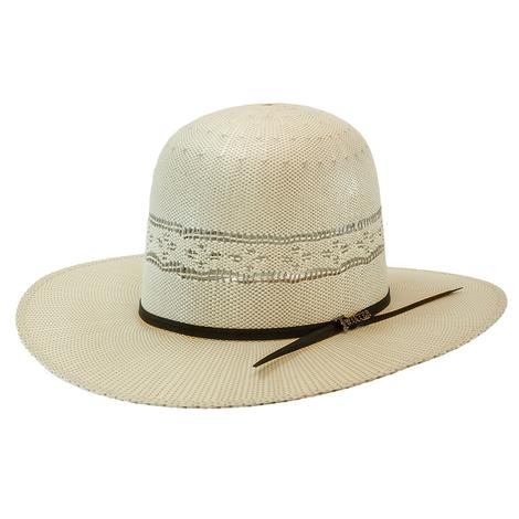 "Twister Twisted Weave 3.5"" Brim 2 Cord Chocolate Band Open Crown Straw Hat"