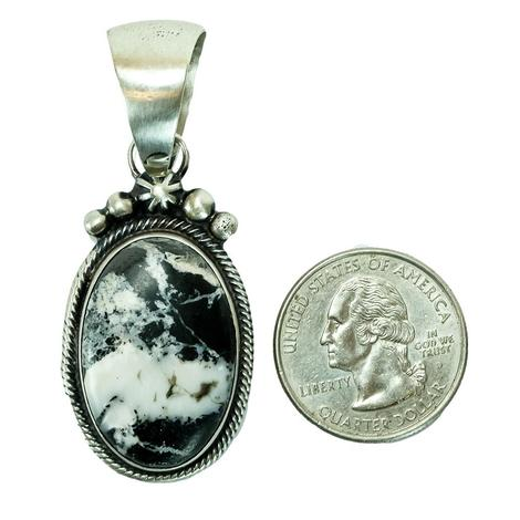 White Buffalo and Sterling Silver Pendant