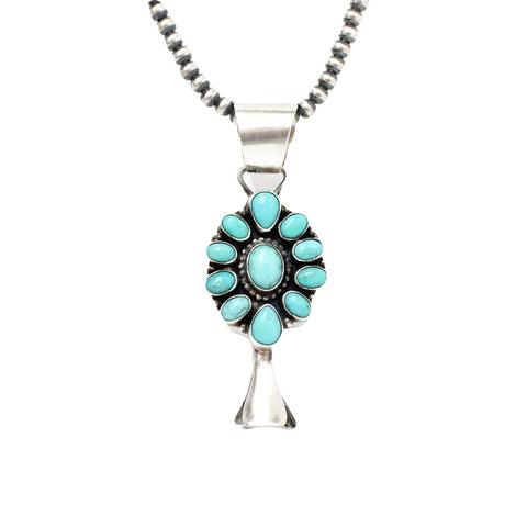 The Janet Turquoise and Blossom Pendant