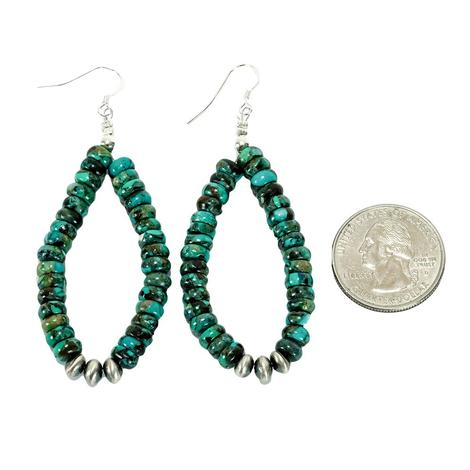 Turquoise Beaded Drop Earrings with Sterling Navajo Pearls