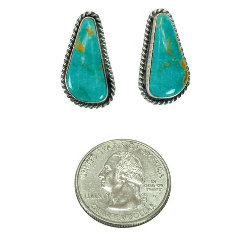 Sterling Silver and Turquoise Green Dapple Triangle Stud Earrings
