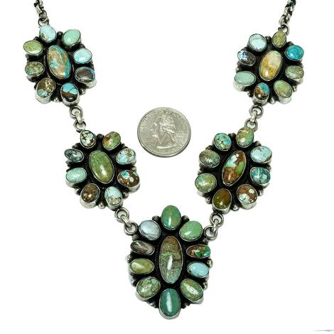 Multi-Stone Five Cluster Turquoise Stone Necklace