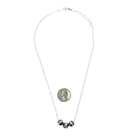Sterling Silver and Three Navajo Pearl Necklace 10mm