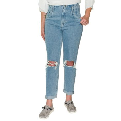 Vervet Pleated Roll Up Mom Jeans- Emma