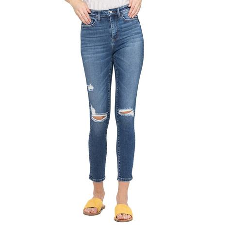 Vervet High Rise Distressed Ankle Women's Skinny Jeans