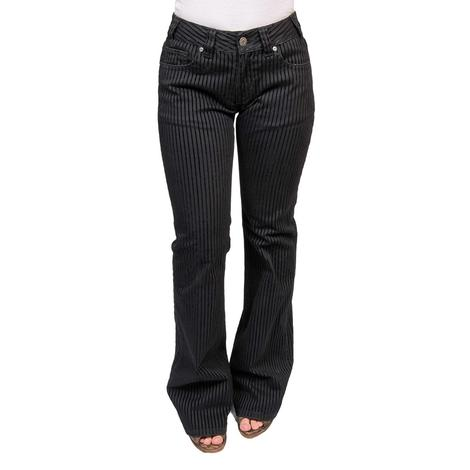 Rock and Roll Cowgirl Womens Black Pin Stripe Trouser Jeans