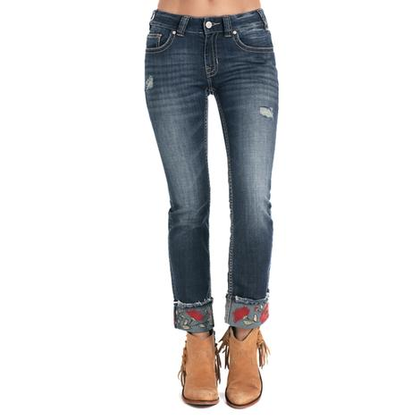 Rock and Roll Cowgirl Womens Embroidered Ankle Straight Leg Jeans