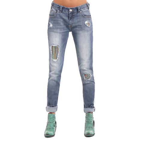 Rock & Roll Cowgirl Womens Distressed Boyfriend Skinny Embroidered Jeans