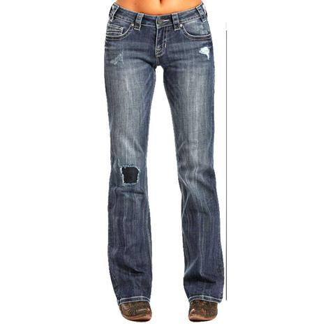 Rock & Roll Cowgirl Medium Wash Patch Riding Jean