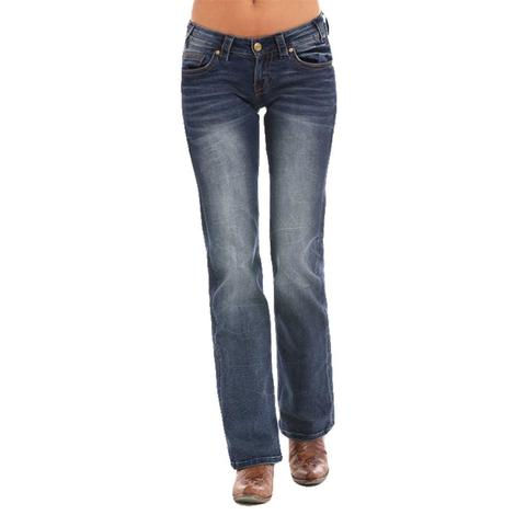Rock & Roll Cowgirl Womens Riding Bootcut Geo Pocket Jean
