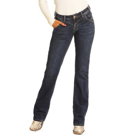 Rock and Roll Cowgirl Dark Wash with Rear Seam Riding Jeans