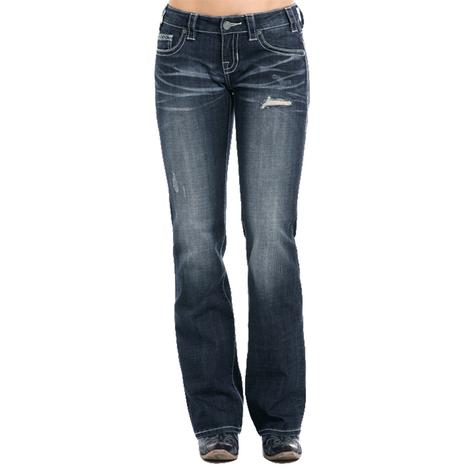 Rock and Roll Cowgirl Dark Vintage Riding Jeans