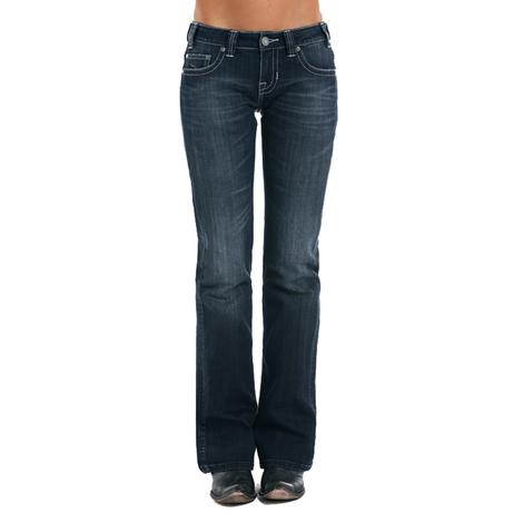 Rock and Roll Cowgirl Dark Vintage Women's Basic Riding Jeans