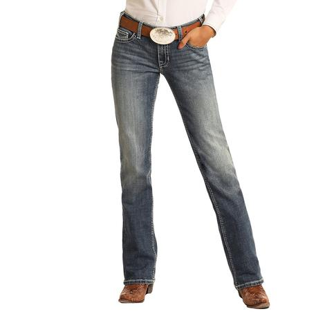 Rock and Roll Cowgirl Medium Vintage Riding Bootcut Women's Jeans