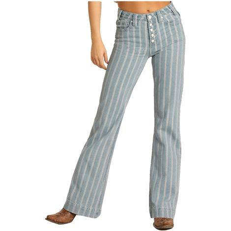 Rock and Roll Cowgirl High Rise Stripe Women's Trouser