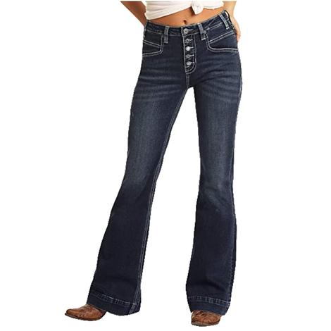 Rock and Roll Cowgirl High Rise Dark Wash Women's Trouser