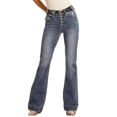 Rock and Roll Cowgirl High Rise Distressed Pocket Trouser Jeans