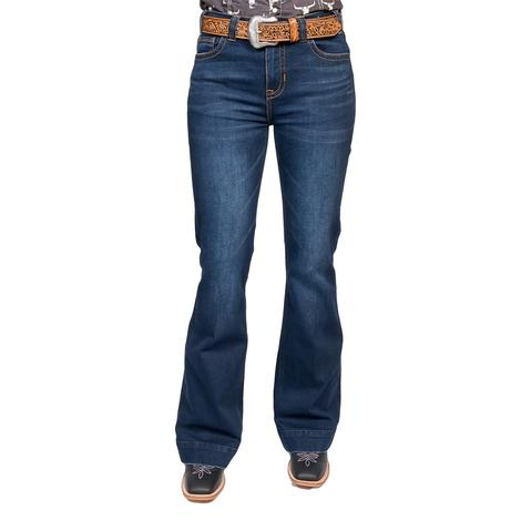 Rock and Roll Cowgirl Dark Wash High Rise Trouser Jeans