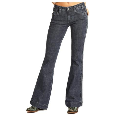Rock and Roll Cowgirl Dark Wash Women's Trouser Jeans