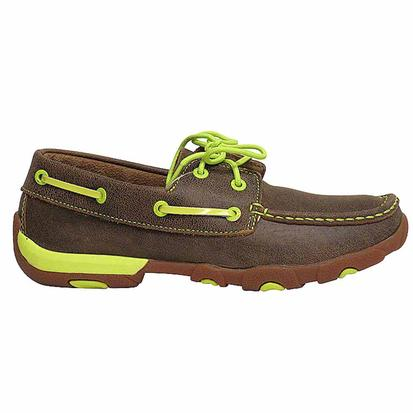 Twisted X Womens Neon Yellow Driving Moccasins