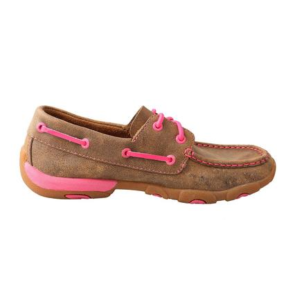 Twisted X Womens Tough Enough to Wear Brown Leather / Pink Details Lace-Up Deck Shoe