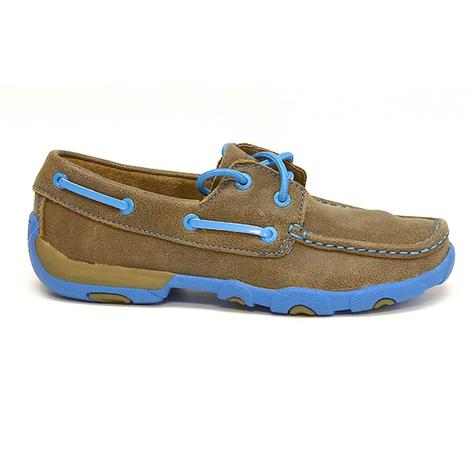 Twisted X Womens Driving Moc Neon Blue Accents
