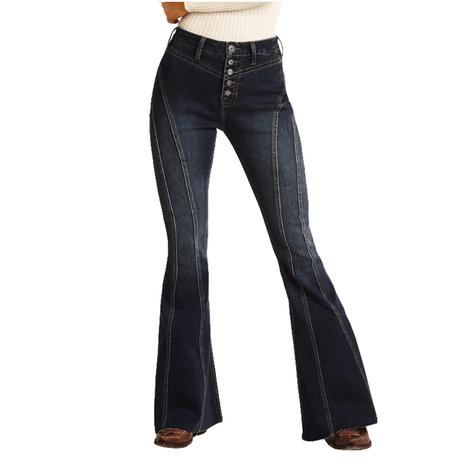 Rock & Roll Cowgirl Dark Vintage Bell Bottom Women's Jeans with Front Seams