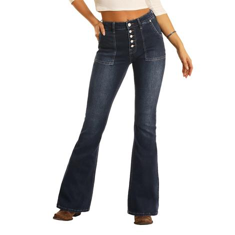 Rock and Roll Cowgirl High Rise Dark Wash Flare Women's Jeans