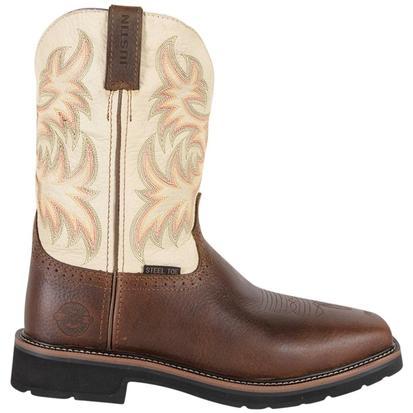 Justin Mens Copper Kettle Cowhide Stampede Steel Toe Work Boots