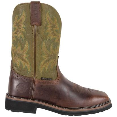 Justin Mens Waxy Brown Cowhide Stampede Steel Toe Work Boots
