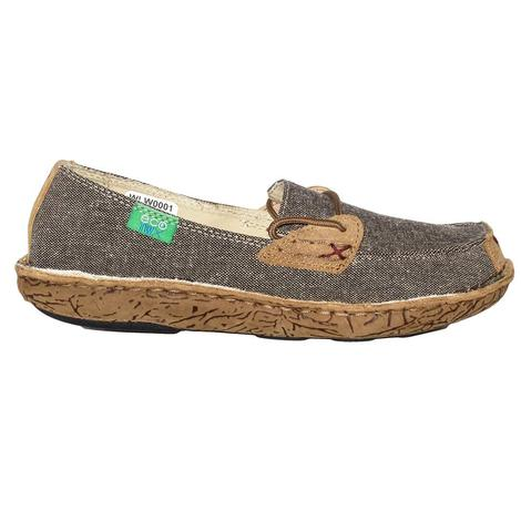Twisted X Womens Eco Twist Fabric Grey Tweed and Tan Slip On Shoes