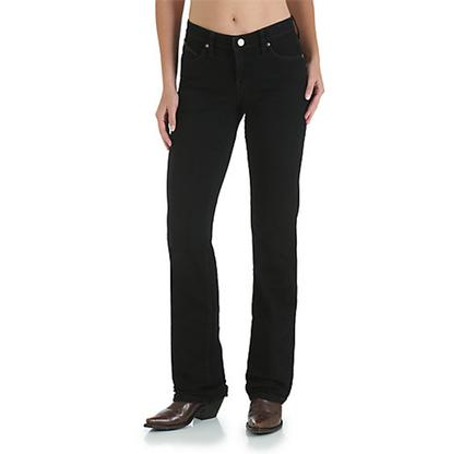 Wrangler Q-Baby Ultimate Riding Mid-Rise Boot Cut Women's Jeans- Black Magic