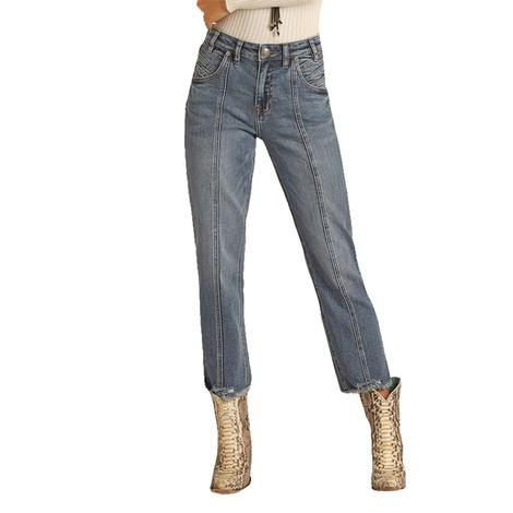 Rock and Roll Cowgirl Medium Wash Straight Crop Women's Jeans