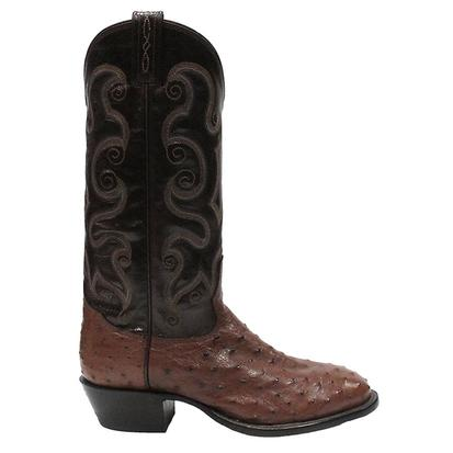 Tony Lama Mens Coffee Vintage Exotic Full Quill Ostrich Western Boots