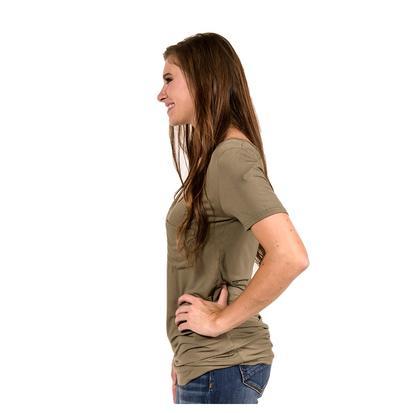 POL Womens Deep V Pocket Short Sleeve Tee