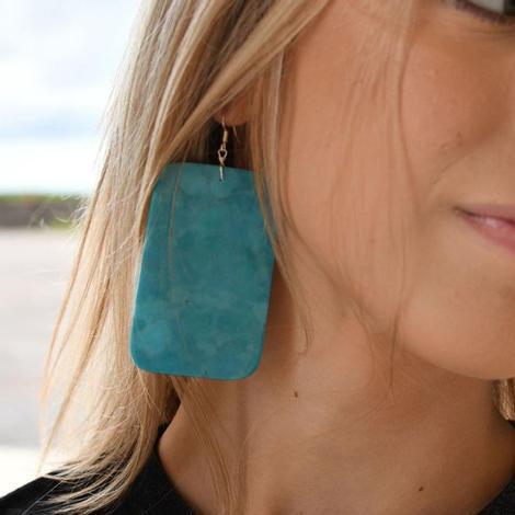 Extra Large Turquoise Slab Earrings